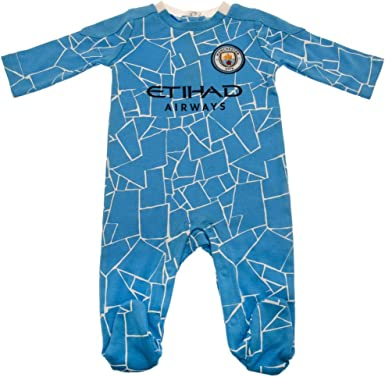 Sky Blue Man City Baby Sleepsuit Infant/'s Home Football Kit Sleepsuit New