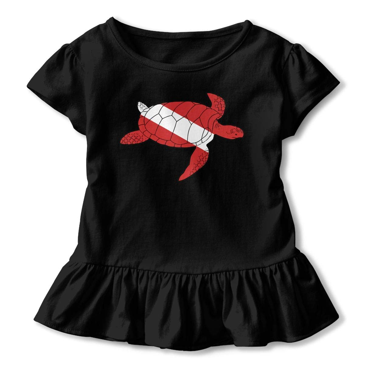Sea Turtle Shaped Scuba Dive Flag Childrens Girls Short Sleeve T-Shirts Ruffles Shirt T-Shirt for 2-6T