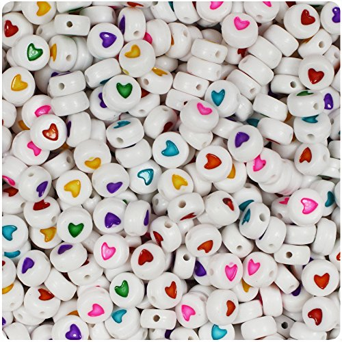 BEADTIN Mixed Colored Heart White 7mm Disc Coin Alphabet Beads (100pc) - Heart Alphabet Bead