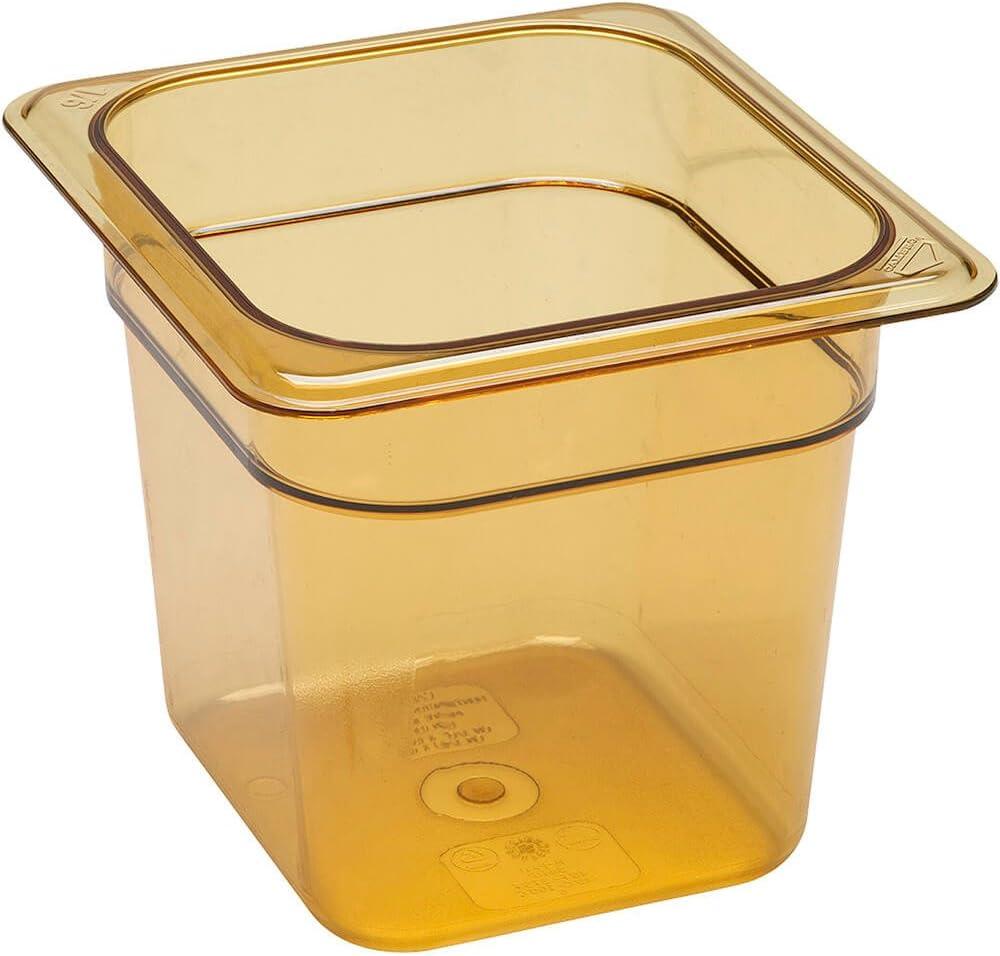 Cambro 66HP150 H-Pan 1/6 Size High Heat Food Pan, Amber, 6