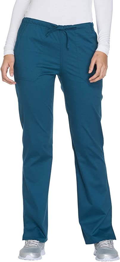 Cherokee Workwear Core Stretch Women/'s Mid Rise PETITE Drawstring Pant 4203P
