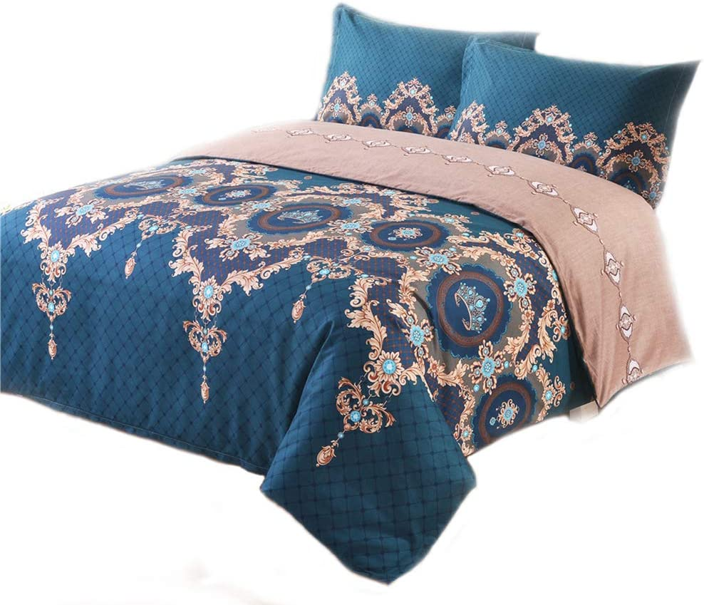 PHOENIX TREE Duvet Cover, Protects and Covers Your Comforter/Duvet Insert, Luxury 100% Super Soft Microfiber, 3 Piece Duvet Cover Set Includes 2 Pillow Shams(Queen,Hera)