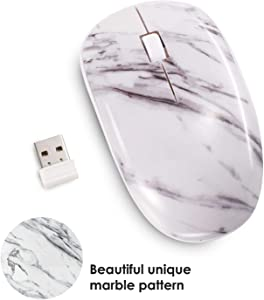 Insten Marble 2.4G Wireless Mouse with Nano USB Receiver, Portable Mobile Optical Cordless Mice for Laptop Notebook Desktop PC Computer MacBook - White Marble Print Design