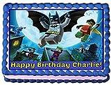Lego Batman Personalized Edible Cake Topper Image -- 1/4 Sheet