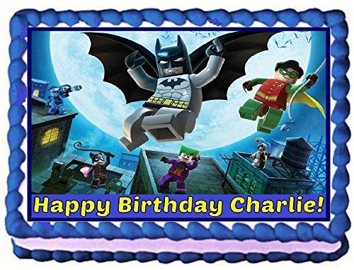 Lego Batman Personalized Edible Cake Topper Image -- 1/4 Sheet - Batman Cake Supplies