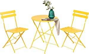 Grand patio 3pc Metal Folding Bistro Set, 2 Chairs and 1 Table, Weather-Resistant Outdoor/Indoor Conversation Set for Patio, Yard, Garden-Yellow