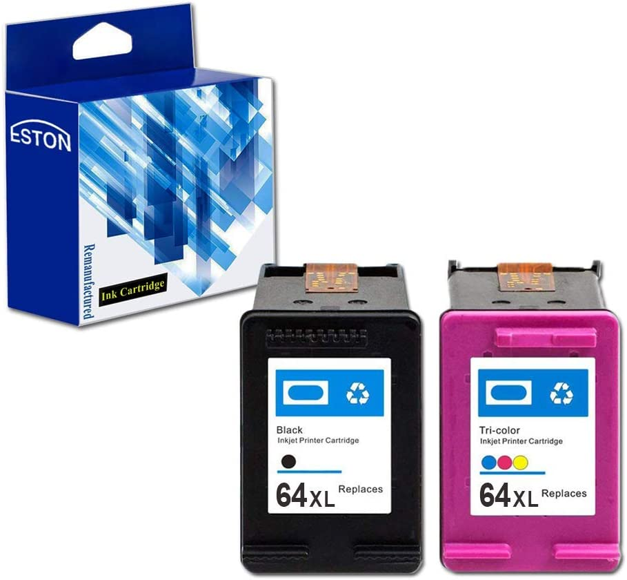 ESTON Remanufactured Replacements for HP 64XL 64 XL Black & Tri-Color Ink Cartridges, 2 Pack (N9J91AN N9J92AN) for HP Envy Photo 6252 6255 6258 7155 7158 7164 7855