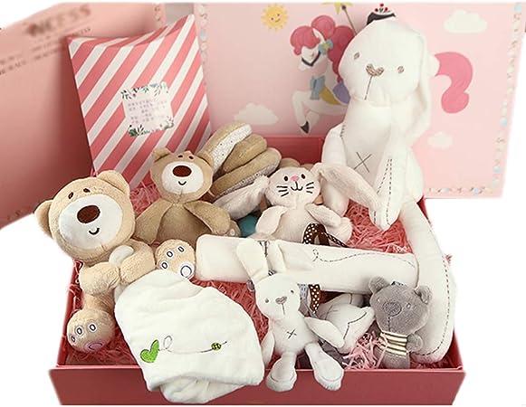 JUNBABY Caja De Regalo para Bebé para Navidad, Muñeco De Peluche, Juguetes, Estuche De Regalo De CumpleañOs, Tarjeta De FelicitacióN Exquisita-Pink-E: Amazon.es: Hogar