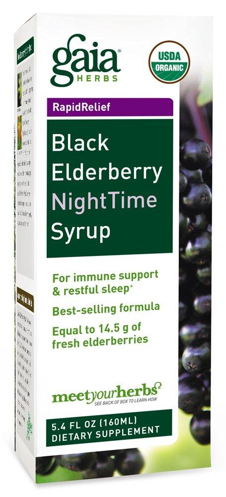 Gaia Herbs Black Elderberry NightTime Vegan Syrup, 5.4 Ounce - Sambucus Immune Support for Restful Sleep, Antioxidants, USDA Organic