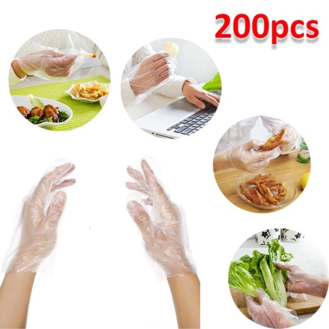 MarshLing 200pcs Disposable Gloves Garden Kitchen Restaurant BBQ Plastic Gloves Perfect Quality