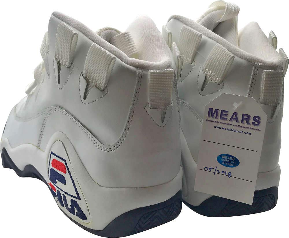 Grant Hill Signed Autographed Game Issued Fila Basketball Sneakers JSA MEARS