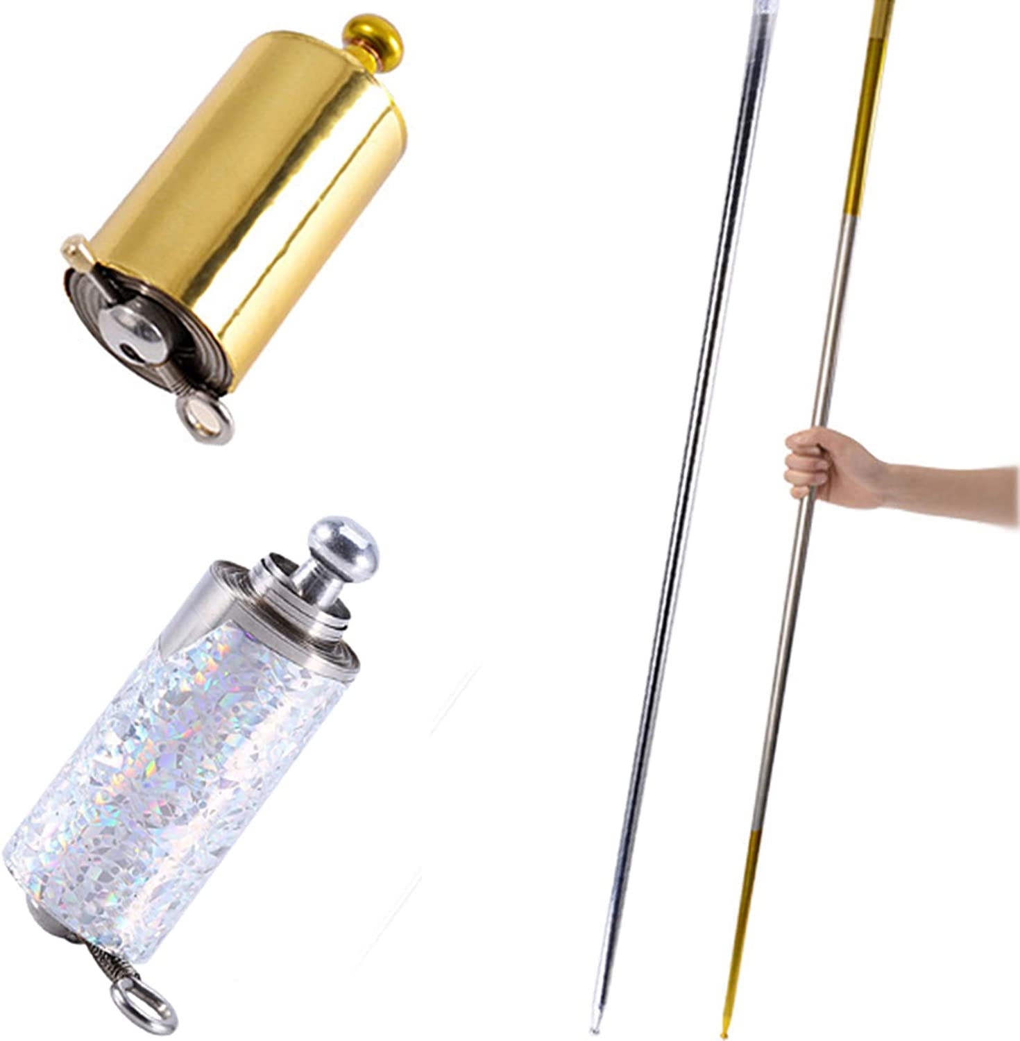 Portable Retractable Collapsible Metal Appearing Cane for Professional Magician Stage Staff Magic Tricks Accessories 2 Pcs Magic Pocket Staff Gold, Silver, 43.3Inch