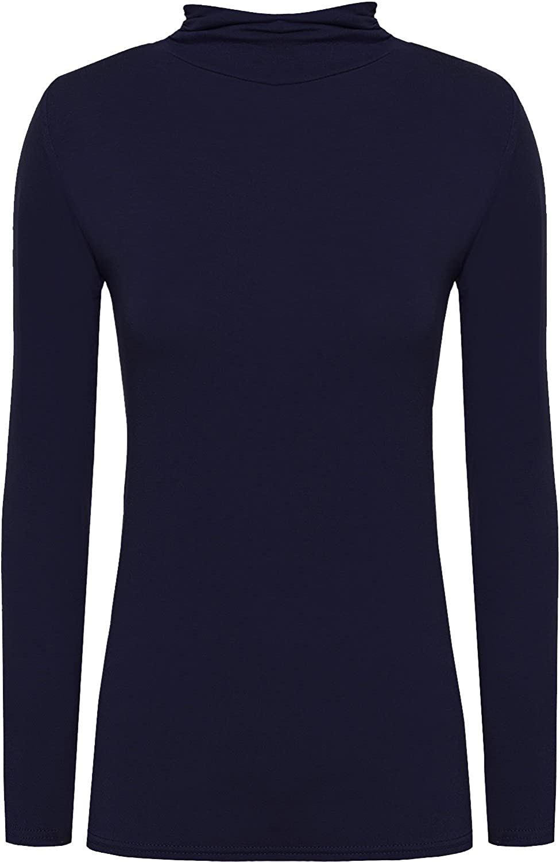 Kids Girls Polo High Roll Neck Long Sleeve Plain Basic Jumper Top Shirt 5-13