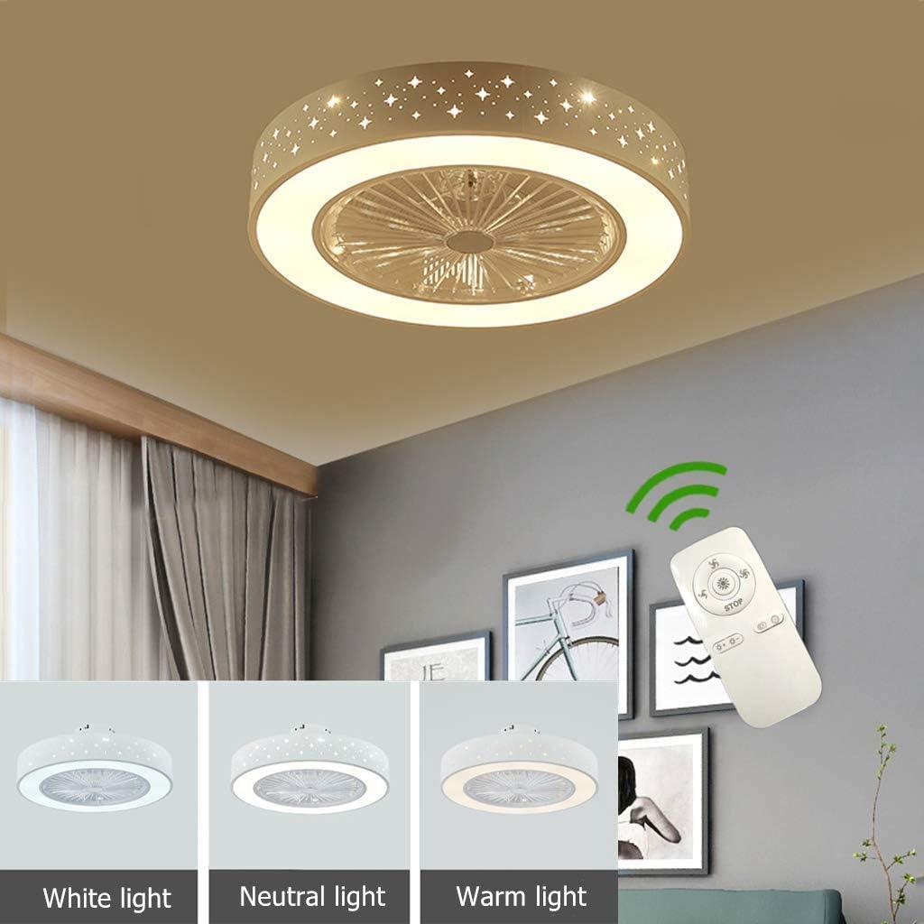 Ventilador De Techo LED Luz Y Mando A Distancia del Fan Lámpara Blanco Redondo Moderno Iluminación Regulable 36W 3 Temporización 3 Velocidades Silencioso Infantil Dormitorio Sala De Estar 55 * 21CM,G