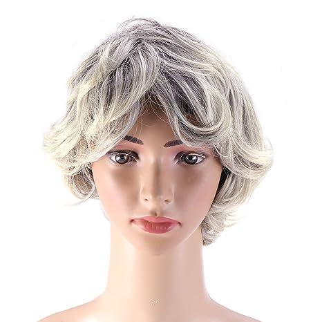 Frcolor Peluca gris corta Pelucas sintéticas rizadas Pelucas de pelo ...