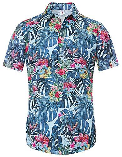 (Loveternal Mens Luau Shirts Fun Tropical Shirts Short Sleeve Button Down Shirts 3D Print Graphic Tropical Plant Crazy Flower Shirt Retro Relax Fit Awesome Hawaiian Tiki Shirts Large)