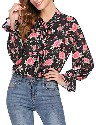 (SoTeer Long Sleeve Chiffon Blouse Women's Floral Print Bow Tie Neck Shirt Top)