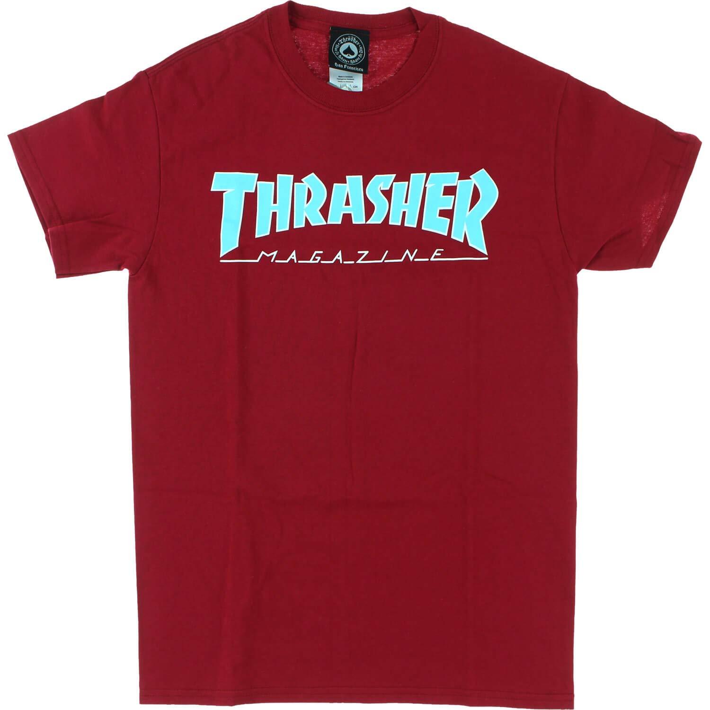 ed1ed5c9717e Amazon.com: Thrasher Magazine Outlined Cardinal Red Men's Short Sleeve T- Shirt - Large: Sports & Outdoors