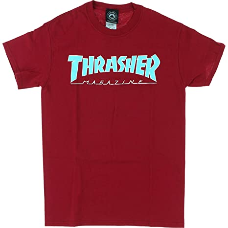 1665e6e1460f Image Unavailable. Image not available for. Color: Thrasher Magazine  Outlined Cardinal Red Men's Short Sleeve T-Shirt ...