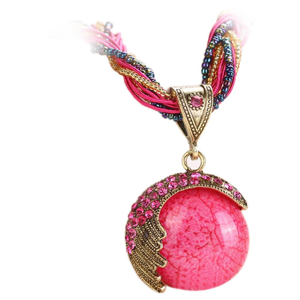 Retro Bohemian Turquoise Stone Pendant Collar Statement Chunky Necklaces for Women Beach (Hot Pink)