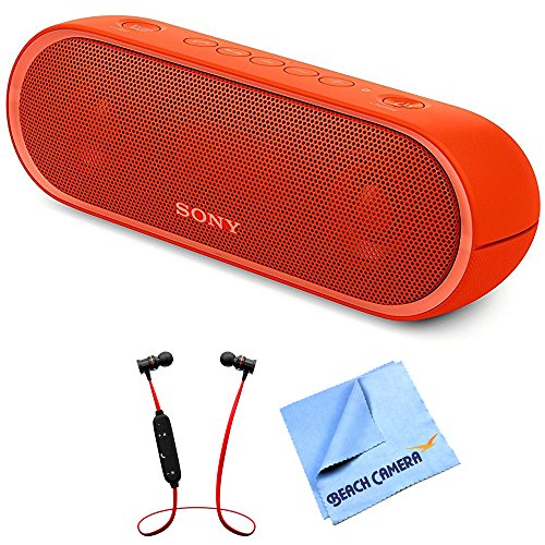Sony XB20 Portable Wireless Speaker with Bluetooth Red 2017 model (SRSXB20/RED) with Xtreme Fusion Bluetooth Headphones Black/Red & 1 Piece...