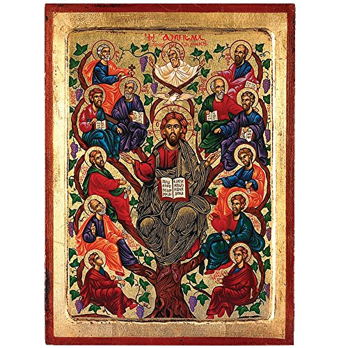 The Tree of Life- Jesus (Vines Old Testament) Greek Painted Icon by Catholic Gifts USA