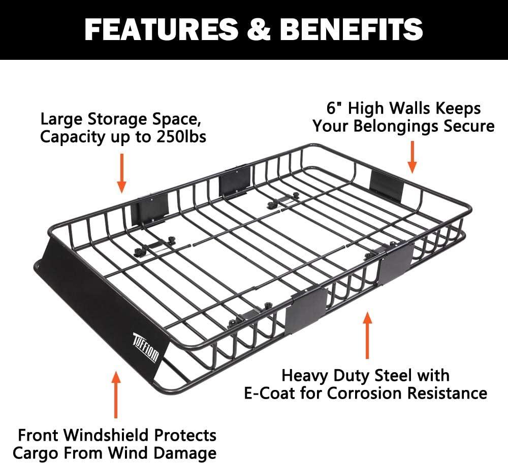 Folding Shank Preserve Space TUFFIOM Upgraded Hitch Mount Cargo Carrier 60x20x6 w// 100/% Waterproof Cargo Bag /& Net Hauling 500 Lbs Capacity Steel Basket