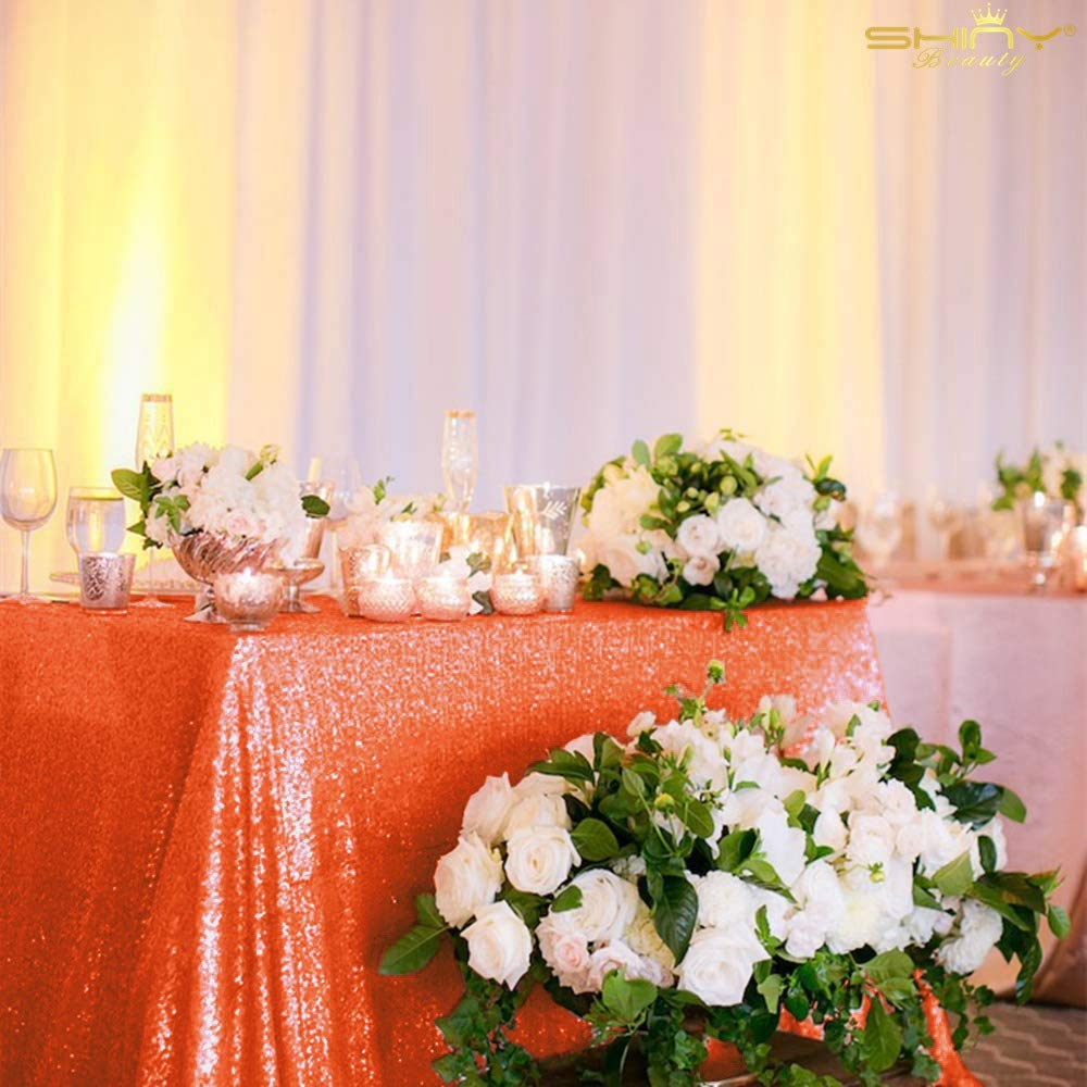 ShinyBeauty 60x102-Inch-Orange-Sequin Rectangular Tablecloth for Party Cake Dessert Table (Orange) by ShinyBeauty