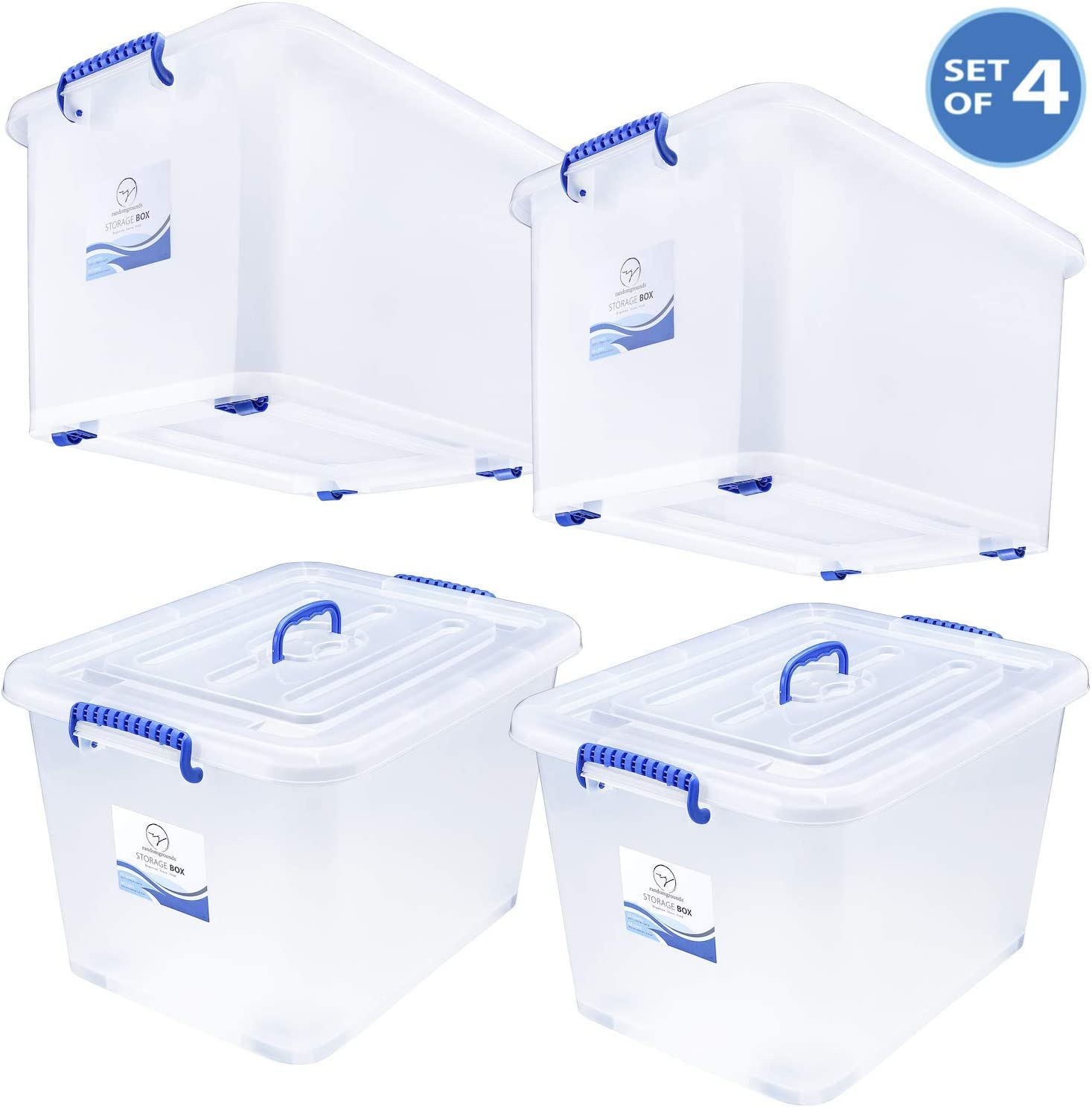 Storage Bins with Lids and Wheels - Great for Toys Shoes Tools Clothes Bed Laundry Closet Garage Office Organization - Plastic Stackable Large Tote Box Containers - Semi Clear White, 63 Quart Set of 4