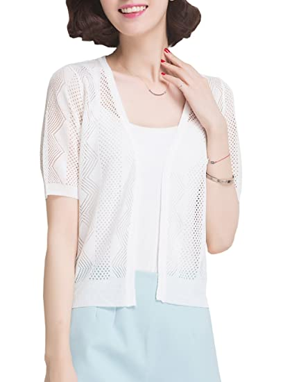 3168643f26e NianEr Summer V Neck Short Sleeve Cardigans for Women Open Front Knit  Cardigan Sweaters at Amazon Women s Clothing store