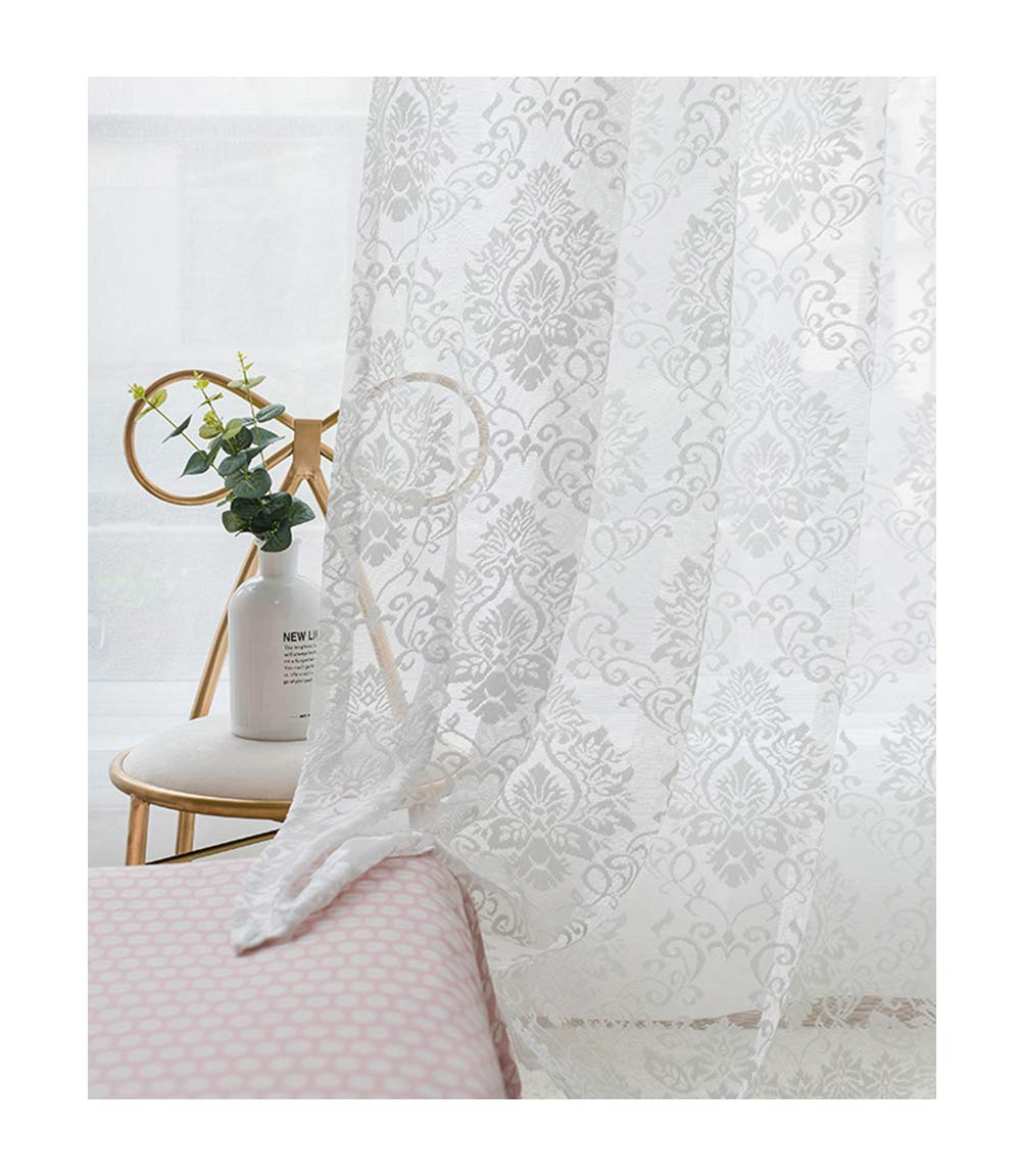 ASide BSide Breathable Window Decoration Rod Pocket Top Sheer Curtains Floral Emblem Lace Victorian Style For Child Room Houseroom and Sitting Room (1 Panel, W 52 x L 84 inch, White)