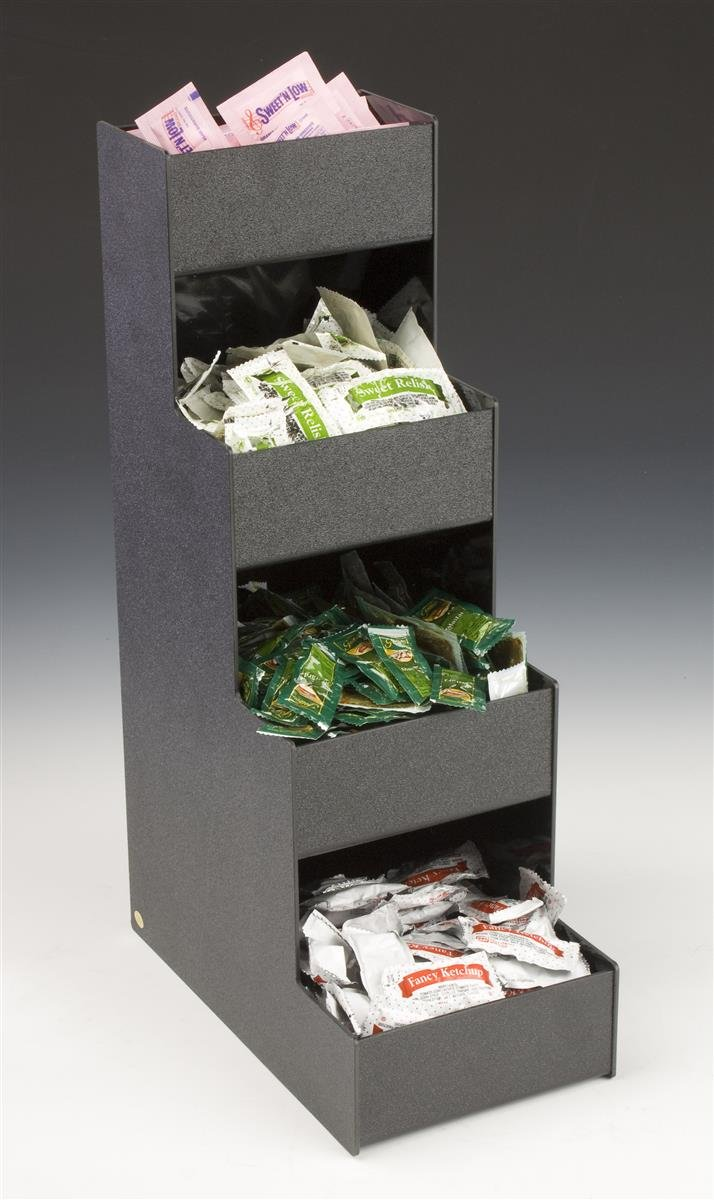 Displays2go 4-Tier Open-Pocket Countertop Organizer for Condiments, Black Acrylic 4TCNDBLK01