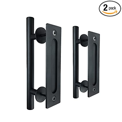 SMARTSTANDARD SHH00801002 Pull And Flush Set, Sliding Barn Door Hardware  Handle, 12u0026quot;,