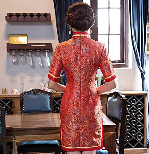 Damen Mustern Schlitz ACVIP Cheongsam Rot Stehtkragen Kurze Arme Acryl d4w5Bw