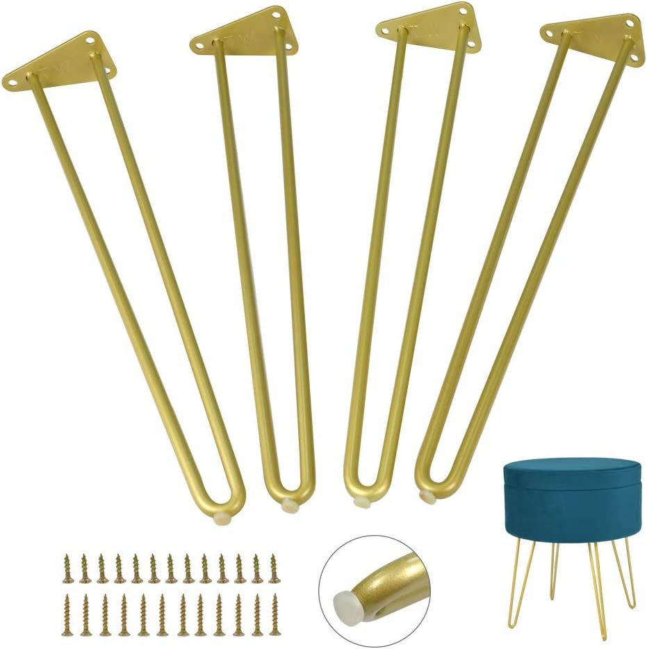 Heavy Duty Hairpin Furniture Leg 16 inch 4pcs Set Gold Metal Legs with Screws & Floor Protectors,DIY Projects for Coffee Table,End Tables,Bench,Sofa (16Inch)