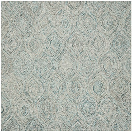 (Safavieh Ikat Collection IKT631A Handmade Ivory and Sea Blue Premium Wool Square Area Rug (8' Square))