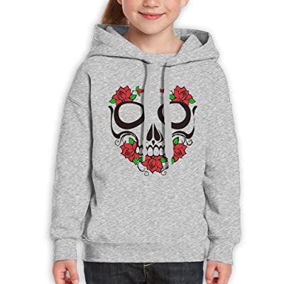 GLSEY Skull and Flowers Pattern Youth Soft Casual Long-Sleeved Hoodies Sweatshirts