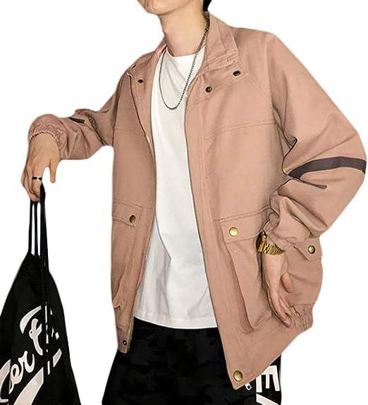 BeiBang(バイバン)メンズ ジャケット デニム ジージャン 長袖 ゆったり ブルゾン ジップアップ アウター 綿 カジュアル gジャン ストリート系 デニムジャケット ピンク 春