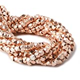 3mm Rose Gold plated Copper Brushed Faceted Nugget Beads 8 inch 65 beads