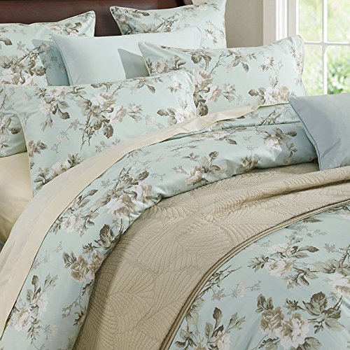 (Brandream French Country Garden Toile Floral Printed Duvet Quilt Cover Cotton Bedding Set Asian Style Tapestry Pattern Chinoiserie Peony Blossom Tree Branches Multicolored Design (Queen,Mint Green))