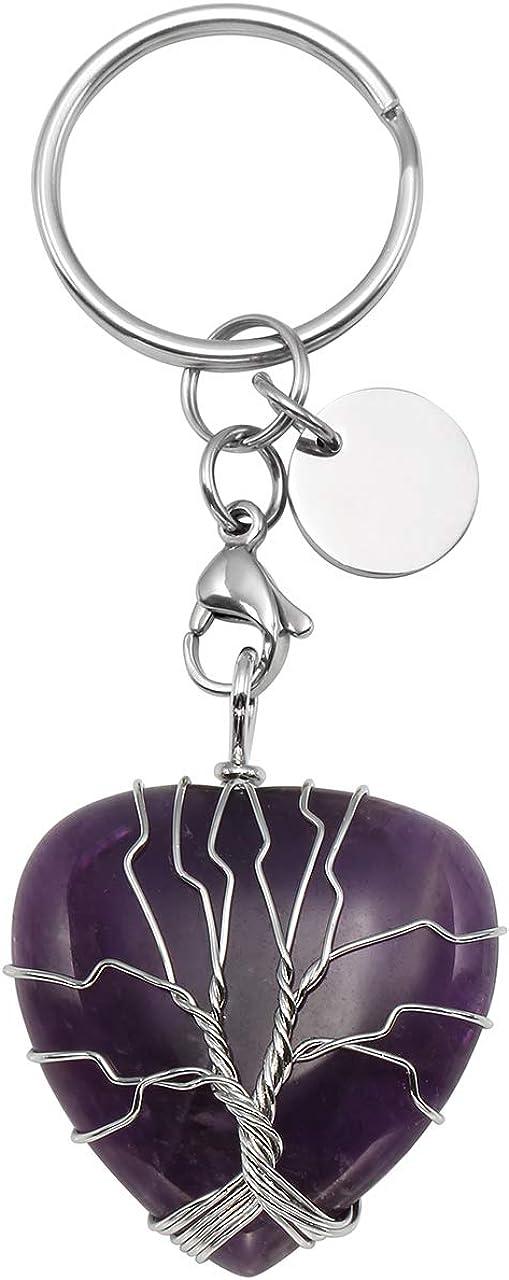 CrystalTears - Llavero con árbol de la vida con colgante en forma de corazón, piedra natural, cierre para langosta de color plateado