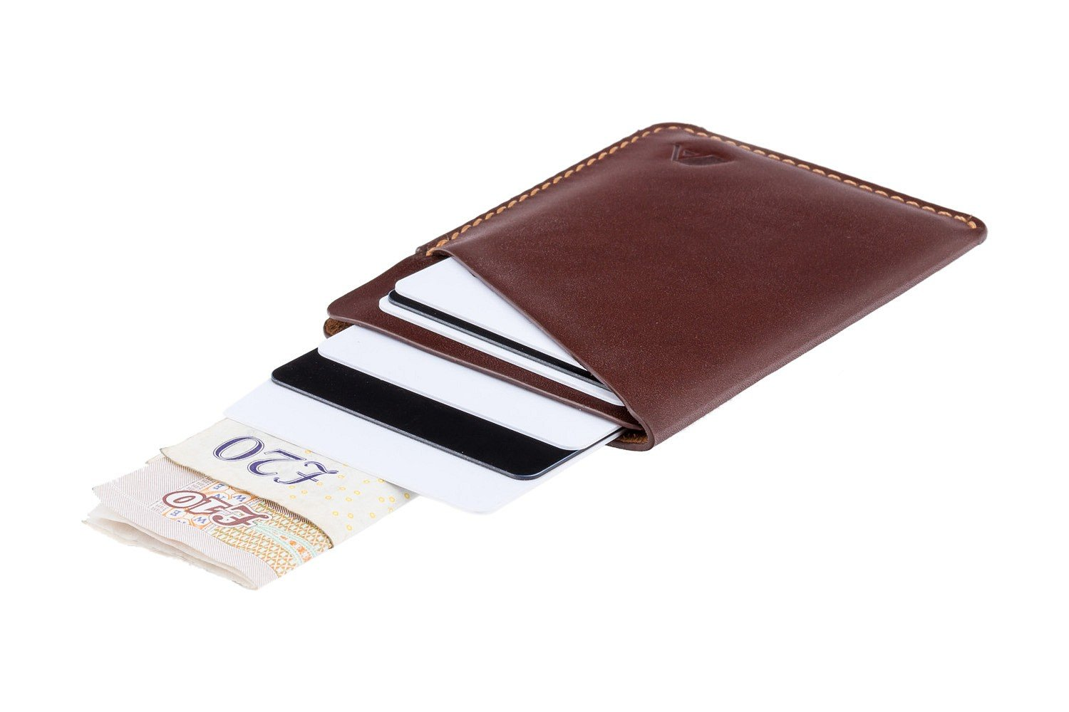 A-SLIM Ninja Slim Card Sleeve Leather Wallet for Minimalists - XSW10 (Mahogany Brown)