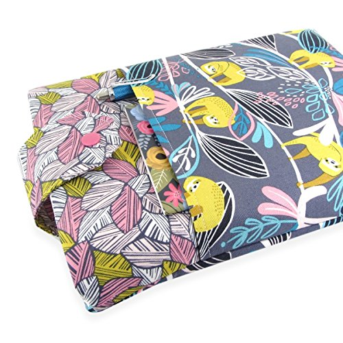 Handmade Sloth Fabric Book Sleeve - Padded - Perfect For Hardbacks Or Large Paperbacks by Five Sprouts Stitching