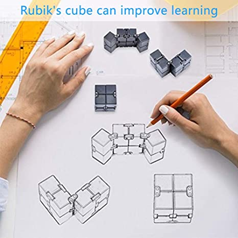 New Fidget Finger Toy Stress and Anxiety Relief SWZY Infinity Cube Fidget Toy for Adults and Kids Black for Killing Time Unique Idea Cool Mini Gadget Fidget Toy