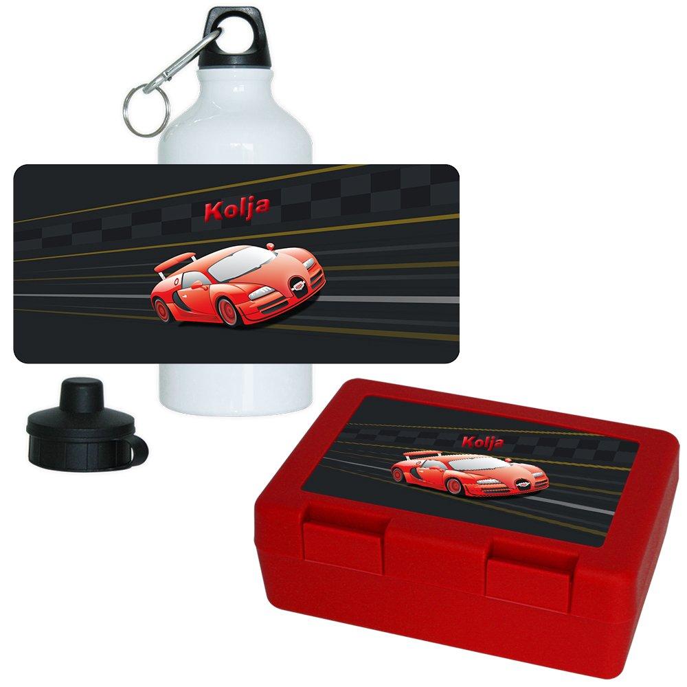 Brotdose + Trinkflasche Set mit Namen Kolja und schönem Auto-Motiv für Jungen   Frühstücks-Set für Schule und Kindergarten   Aluminium-Trinkflasche   Lunchbox   Vesper-Box