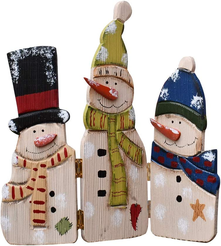 """WHY Decor Wood Snowman Table Top Decoration from Traditional Winter Christmas Theme Three Snowmen Mini Ornaments Real Wood Holiday Decoration Home Xmas Decor 12.5"""" Tall"""