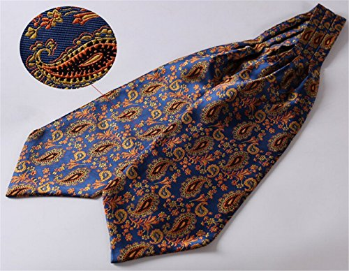 Allbebe Mens Blue Orange Floral 100% Silk Cravat Ties Jacquard Woven Ascot