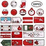 Christmas Gift Tag Stickers,Christmas Name Tags Stickers Kits Self Adhesive Tag Labels, Santa Snowmen Xmas Tree Deer Designs Holiday Decorative Presents Boxes Labels, 120 Pcs
