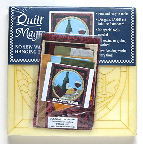 Quilt Magic No Sew Wall Hanging Kit - Wine Time - Approximately 11 x 11 inches by quilt magic