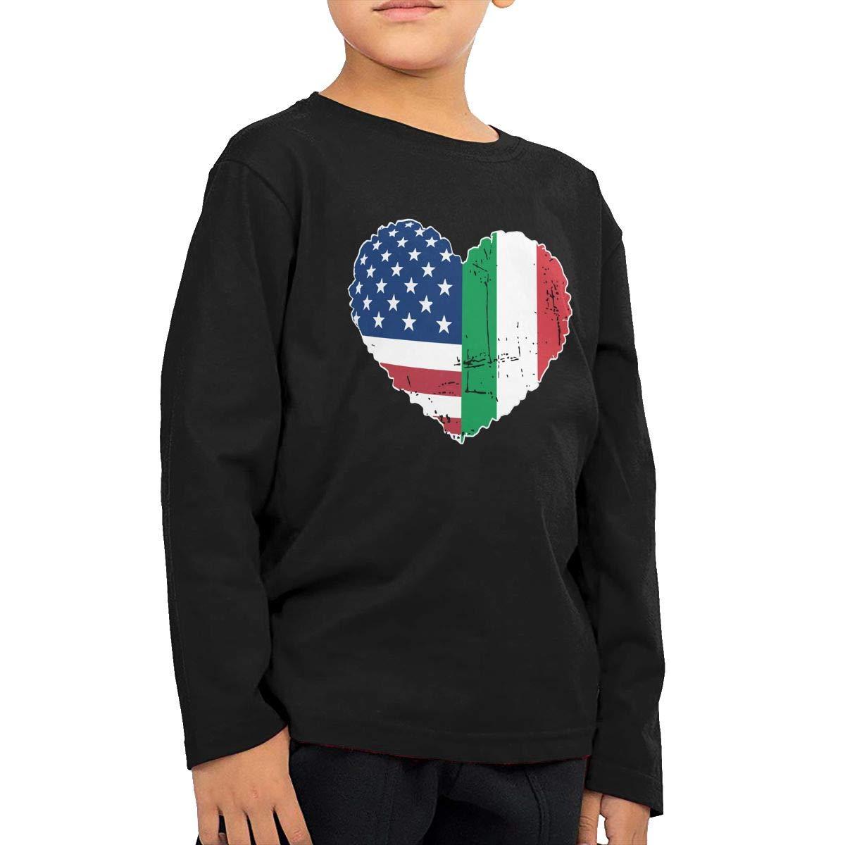 CERTONGCXTS Little Girls Italian USA Flag Heart ComfortSoft Long Sleeve T-Shirt